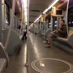 Riding the metro to catch my ride to Verona
