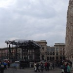 Stage in front of the Milan Cathedral