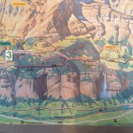 Table mat in the restaurant was also a map of trails